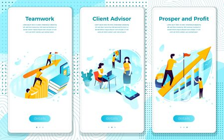 Vector mobile illustration set - teamwork for prosper and profit, client help and advise. Modern bright banner, site template with place for your text. Ilustração