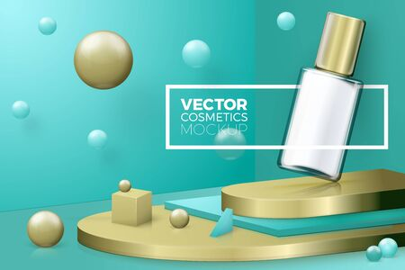 Vector 3d realistic abstract scene with text, border and nail polish bottle. Gold and green background with geometric shapes and walls. Ilustração