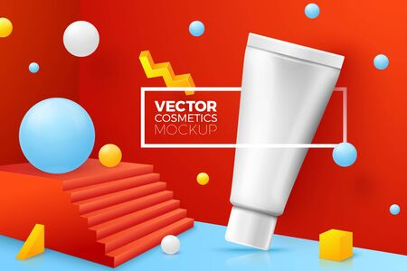 Vector 3d realistic abstract corner scene with tube cream. Bright blue, red and yellow background with geometric shapes and border with place for your text.