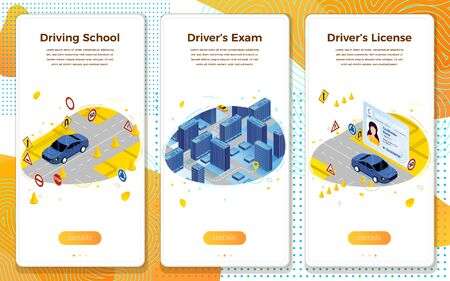 Vector mobile illustration set - driving school concept, learning, exams, license. Modern bright banner template with place for your text.