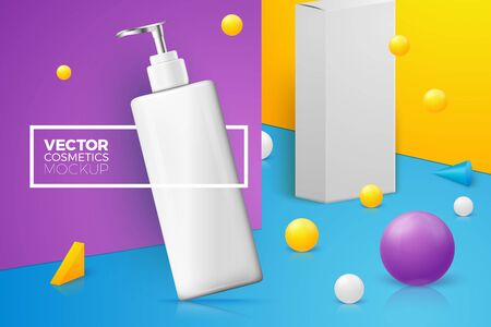 Vector 3d realistic abstract scene with text and border, shampoo bottle and box. Bright violet, blue and yellow background with geometric shapes and walls.