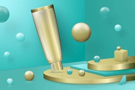 Vector 3d realistic abstract scene with paste tube. Bright blue and golden background with geometric shapes. Ilustração