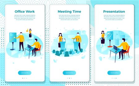 Vector mobile illustration set - office presentation, meeting time. Modern bright banner, site template with place for your text.