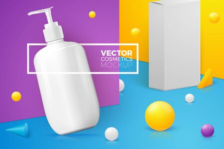 Vector 3d realistic abstract scene with pump shampoo bottle and paper box. Bright blue, violet and yellow background with geometric shapes, with place for your text.