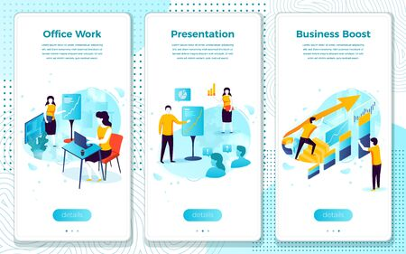 Vector mobile illustration set - office work, man with presentation, business boost. Modern bright banner, site template with place for your text.