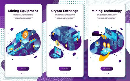 Vector mobile illustration set - cryptocurrency mining, equipment, exchange. Modern bright banner, site template with place for your text.