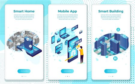 Vector mobile illustration set - Smart home and building application. Modern bright banner, site template with place for your text. Ilustração