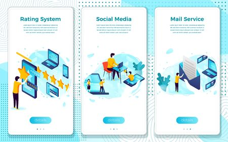 Vector mobile illustration set - social media concept, rating and mail system. Modern bright banner, site template with place for your text. Ilustração Vetorial