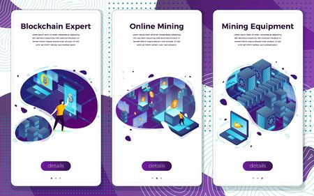 Vector mobile illustration set - cryptocurrency mining equipment expert. Modern bright banner, site template with place for your text.