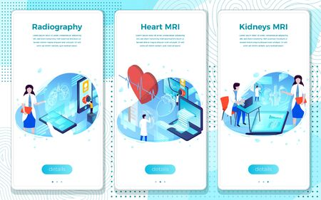 Vector mobile illustration set - Heart, Lungs, Kidney MRI and Radiography. Modern bright banner, site template with place for your text. Ilustração