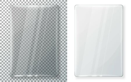 Transparent vector realistic vertical glass plate for your signs, isolated on plaid and white background.