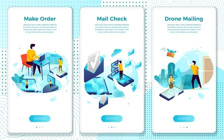 Vector mobile illustration set - online shopping, mail check, fast drone delivery. Modern bright banner template with place for your text.
