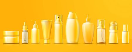 Vector 3d realistic yellow different cosmetics packs on bright background with reflection. Mock-up for product package branding.