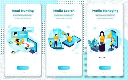 Vector mobile illustration set - head hunter online search for employee, profile managment. Modern bright banner, site template with place for your text. Ilustração