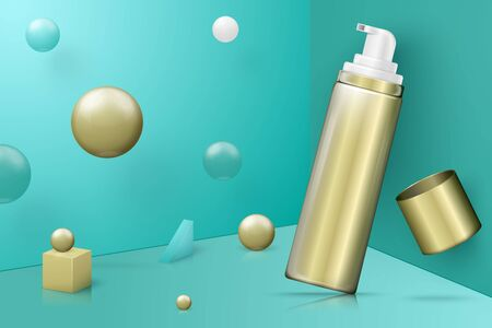 Vector 3d realistic abstract scene with mousse bottle. Bright blue and golden background with geometric shapes. Ilustração