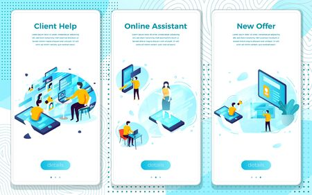 Vector mobile illustration set - online client help assistance. Modern bright banner, site template with place for your text.