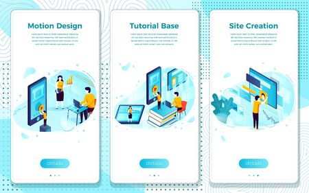 Vector mobile illustration set - online learning, tutorial base for motion design. Modern bright banner, site template with place for your text.