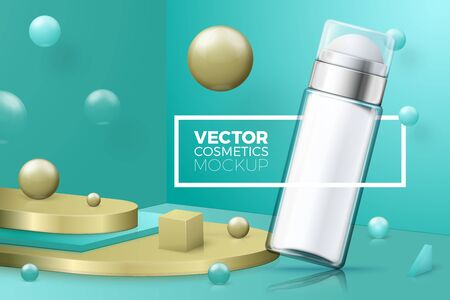 Vector 3d realistic abstract corner scene with text and border around deodorant bottle. Green and gold colors, with geometric shapes. Ilustração
