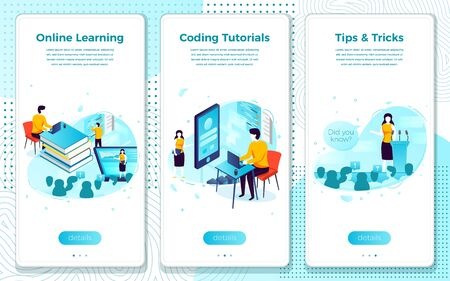 Vector mobile illustration set - online tutorial school, learning process. Modern bright banner template with place for your text.