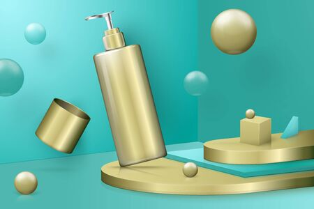 Vector 3d realistic abstract scene with step podium and pump bottle. Bright turquoise and golden background with geometric shapes.
