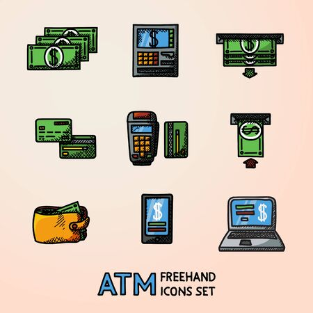 Set of ATM handdrawn doodle sketch icons with - machine, cards and wallet, portable device, smartphone, money transfer, notebook, bills. Vector illustration