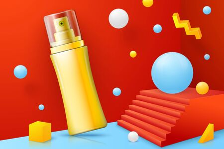 Vector 3d realistic abstract scene with spray bottle. Bright blue, red and yellow background with geometric shapes.