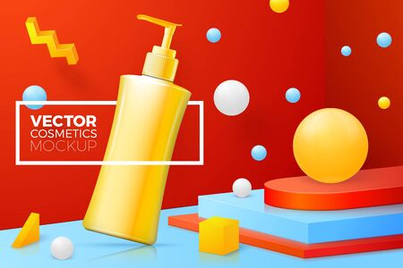 Vector 3d realistic abstract scene with shampoo pump bottle. Bright blue, red and yellow background with geometric shapes and border.