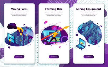 Vector mobile illustration set - cryptocurrency mining, equipment, farm. Modern bright banner, site template with place for your text. Ilustração