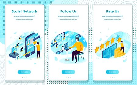 Vector mobile illustration set - follow and rate us on social network. Modern bright banner, site template with place for your text.