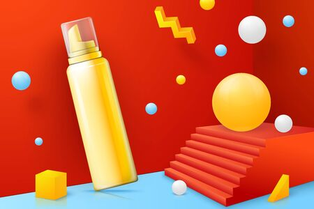Vector 3d realistic abstract scene with mousse bottle. Bright blue, red and yellow background with geometric shapes.
