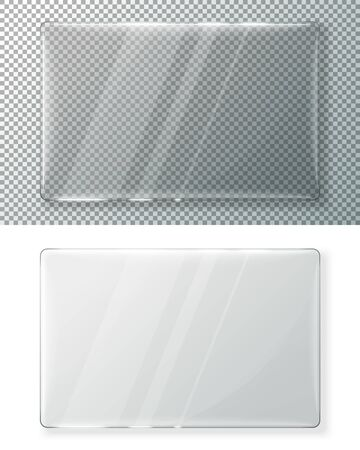 Transparent vector realistic glass plate for your signs, isolated on plaid and white background. Ilustração