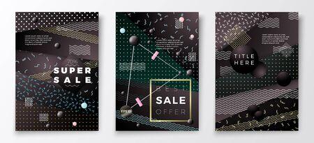 Vector 3d realistic Sale paper memphis style poster templates, dark modern background with geometric shapes. Ilustração