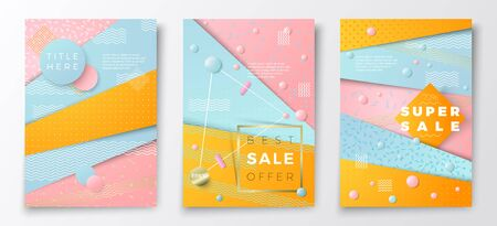 Vector realistic Sale paper style poster templates