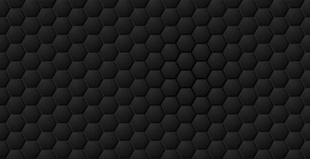 Vector abstract black hexagon seamless pattern