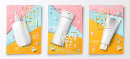 Vector 3d realistic cosmetic bottles poster templates, pump bottle, tube and shampoo on bright modern background with geometric shapes. Mock-up for product package branding.