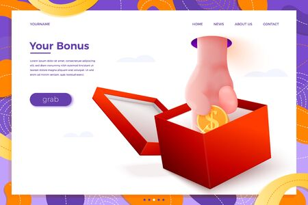 Vector site banner concept - cartoon 3d realistic hand taking coin from present box, with place for your text and button. Welcome gift landing page template.