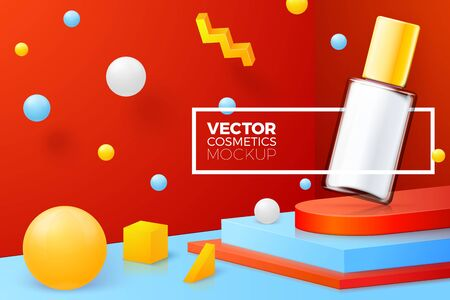 Vector 3d realistic abstract corner scene with nail polish bottle. Bright blue, red and yellow background with geometric shapes and border.