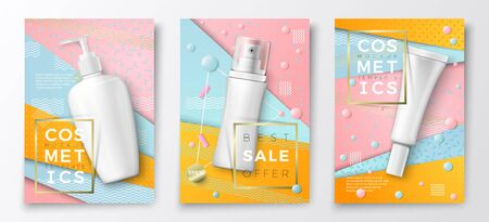 Vector 3d realistic cosmetic bottles poster templates, pump bottle, tube and spray bottle on bright modern background with geometric shapes. Mock-up for product package branding.