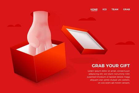Vector site banner concept - cartoon 3d realistic hand taking present from gift box, with place for your text and button. Cashback landing page template.