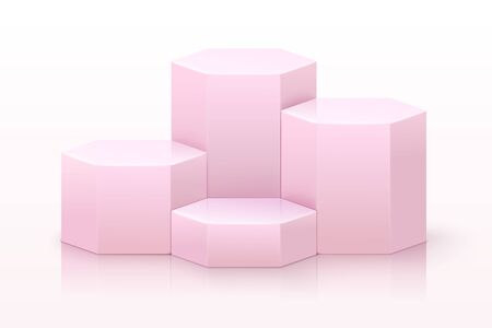 Vector realistic pink hexagonal podium with reflections, showcase for your products isolated on white background. Ilustrace