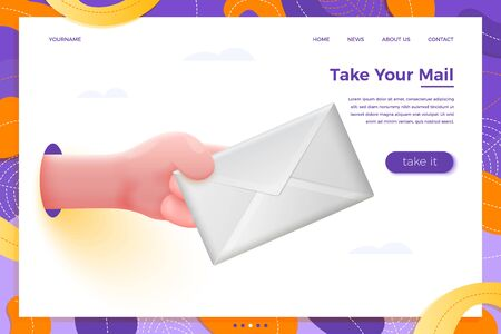 Vector site banner concept - cartoon 3d realistic hand holding white envelope, with place for your text and button. Welcome gift landing page template. Ilustração