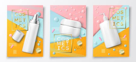 Vector 3d realistic cosmetic bottle poster mockup