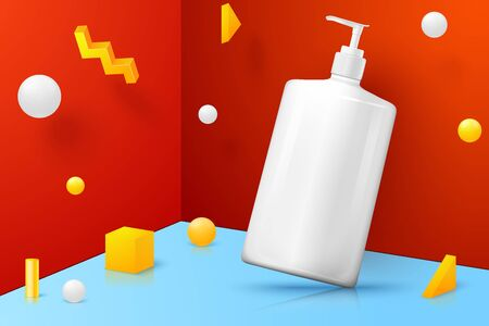 Vector 3d realistic abstract scene with cosmetics pump bottle. Bright blue, red and yellow background with geometric shapes. Ilustração