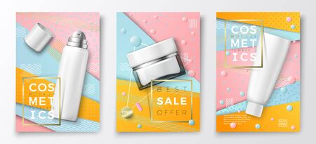 Vector 3d realistic cosmetic bottles poster templates, tube, jar and spray bottle on bright modern background with geometric shapes. Mock-up for product package branding.