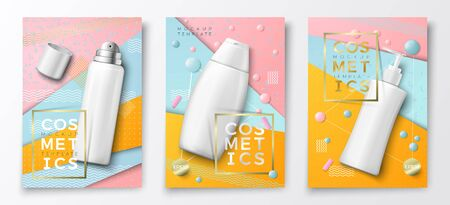 Vector 3d realistic cosmetic bottles advertisement poster templates,on bright modern background with geometric shapes. Mock-up for product package branding. Mousse, shampoo and dispenser bottles.