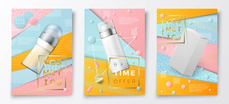 Vector 3d realistic deodorant bottles and box poster templates,on bright modern background with geometric shapes. Mock-up for product package branding. Vettoriali