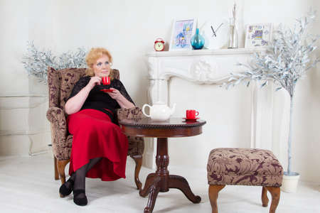 cosily: Seated in a chair adult woman drinking tea