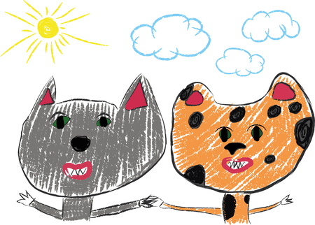 buddies: Best friends.Pencil drawing.Color pencil. Wolf and leopard