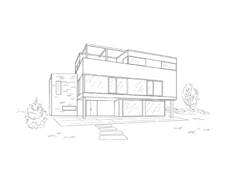 modern house exterior: building drawing Illustration