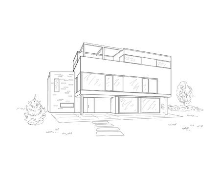 modern huis: gebouw tekening